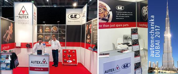 Auch auf der AUTOMECHANIKA war AUTEX vom7.-9. Mai 2017 in Dubai gemeinsam mit anderen Branchenexperten im deutschen Pavillon vertreten.